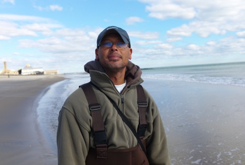 Surf fisherman shows up at the OG beach on Nov. 3, 2012.  Paul Goldfinger photo ©