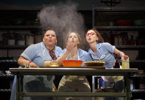 "This image released by Boneau/Bryan-Brown shows, Keala Settle, left, Jessie Mueller and Kimiko Glenn, right, during a performance of ""Waitress,"" at the Brooks Atkinson Theatre in New York. (Joan Marcus 