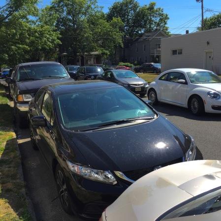 Autos jammed in on the Saturday of Bridgefest. Delaware Avenue.