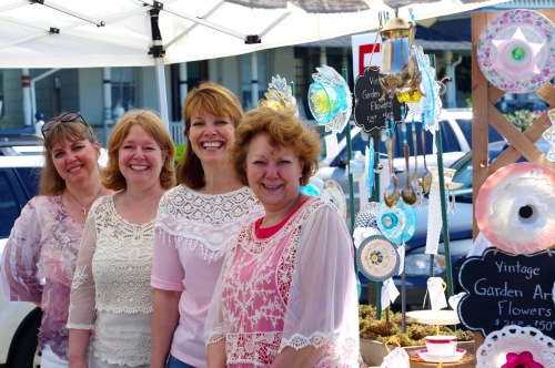 "The Hoffman sisters from Atlantic Highlands were selling ""vintage china with a new purpose."" Nancy, (L to R), Cindy, Penny and Sally. © Blogfinger.net."