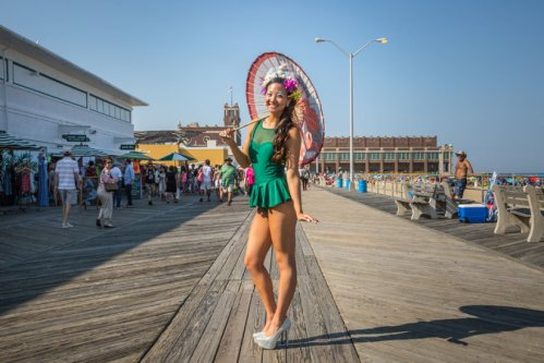 This photo was part of a NY Tines article on July 5 (linked in our Asbury Hotel piece). Photo by Tony Cenicola. They had a Mermaid Parade (a la Coney Island) ©