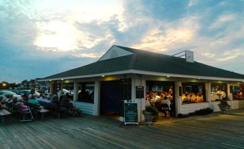 A little night music. Jean Bredin photo outside the Boardwalk Pavilion in Ocean Gove, NJ © Blogfinger.net