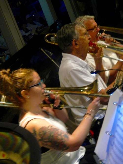 Yo Harry!! Girls in the trombone section! Photo by Jean Bredin. Blogfinger staff action shot. ©