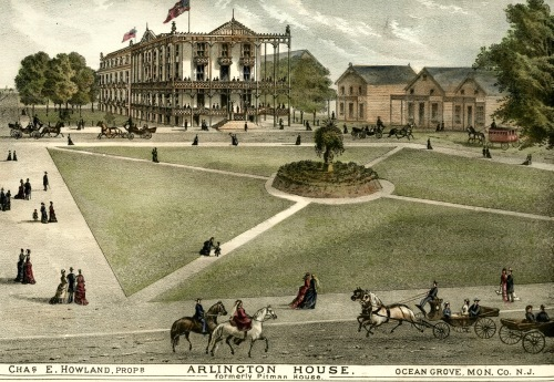 The Arlington House Hotel in Ocean Grove, NJ. From the Woolman and Rose Atlas of the New Jersey Coast. 1878.