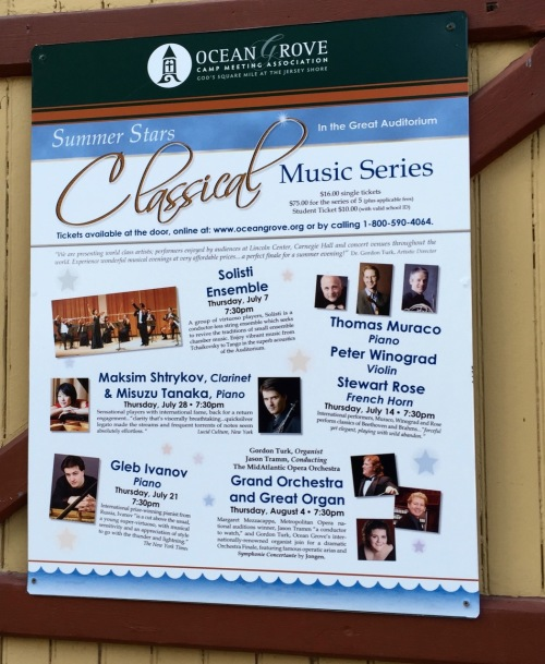 Talk about posting something on the church door.....The Great Auditorium in Ocean Grove. Blogfinger photo. Click to read all about it.