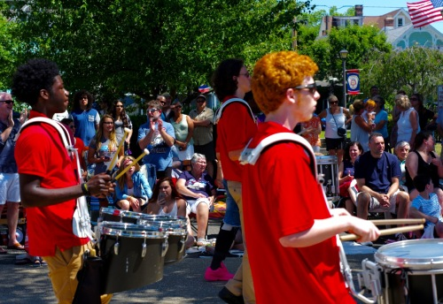 Neptune High School Marching Band movie' and groovin' down Main Avenue at the OceanGrove July 4, 2016 parade.  Paul Goldfinger photo ©