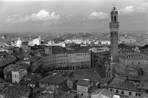 Piazza del Campo in Siena, Tuscany, Italy. Photograph by Paul Goldfinger. Silver gelatin print. ©
