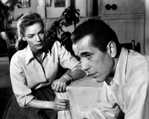 Scene from Key Largo with Lauren Bacall  (age 24)  and Humphrey Bogart.