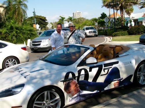 Two Goldfingers with the Bond car. St. Armand Circle, Sarasota, Fla. 2013.