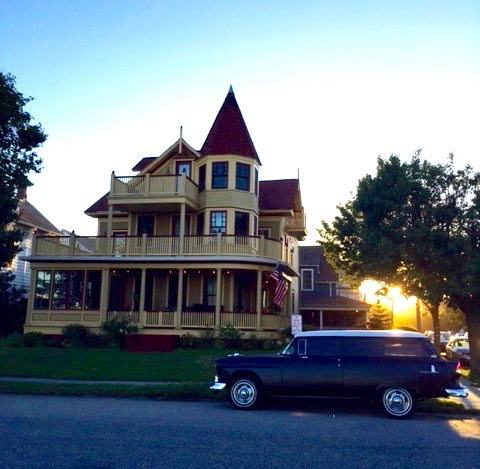 unset back-lights this gorgeous Victorian home in Ocean Grove, NJ. Stephen Goldfinger photo, Blogfinger staff. 8/3/16