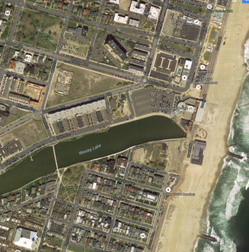 Click on the Google satellite photo map above to see that the continuation of Lake Avenue is labeled Beach Avenue east of the north/south part of Beach Avenue.
