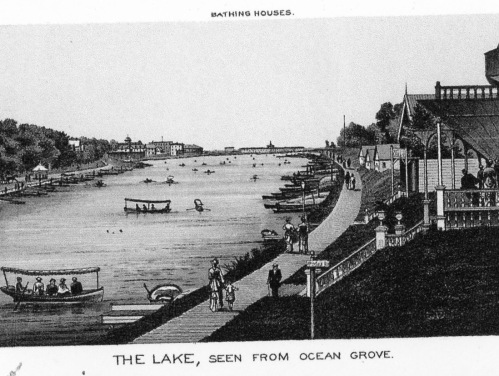 1896. Wesley Lake. Ocean Grove. Clearly the precedent for Lake Avenue is a walkway. Courtesy of Ted Bell.