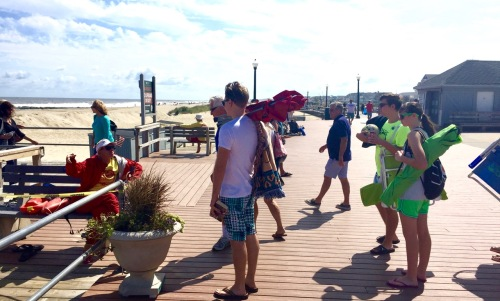 A lifeguard turns away beachgoesrs who want to enter the Ocean Grove sand. Blogfinger photo ©