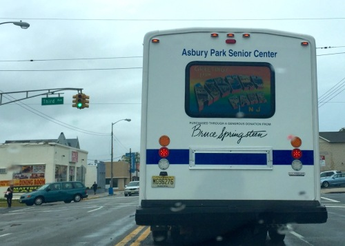 Bus in front of me on Main Street, A. Park SEpt. 2016. Blogfinger action photo (taken while stopped at a light) ©