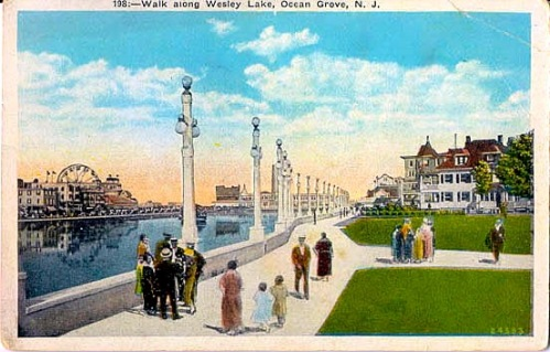 19th century walkway along Wesley Lake: It was called Lake Avenue, not Beach Avenue. And the lake was a lake not a retention/detention basin (as it is currently labeled)