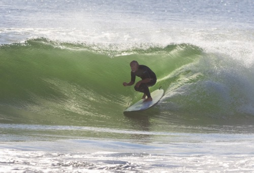 Ocean Grove resident Dan Stockdale…catching an early ground swell from Hurricane Nicole, this morning, 10/13/16.…….Photo by Bob Bowné. Special to Blogfinger ©