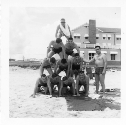 Fairleigh Dickinson Jazz Band on the beach at Myrtle Beach, sometime in the last century, on a planet far far away. Photographer unknown,