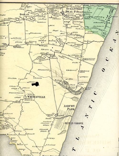 This page is from the F.W. Beers Monmouth County Atlas of 1873. It shows portions of Ocean and Shrewsbury Townships. Presented by Paul Goldfinger @Blogfinger.