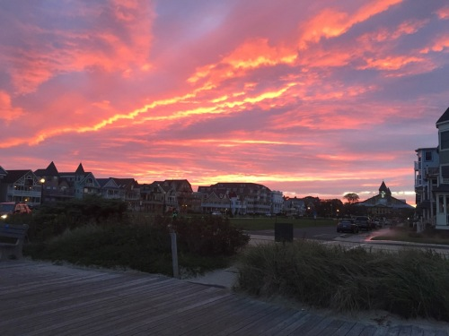 Joe and Maggie Thornton obtained this spectacular sunset image of Ocean Grove looking west (just the opposite of most sunset photos) Oct. 13, 2016. Special to Blogfinger ©