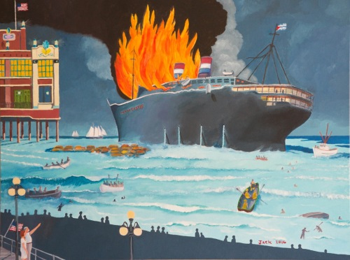 SS Morro Castle on fire n 1934 off the Asbury Park shore. Painting by Jack Bredin, November 2016. © Photograph by Rob Bredin.