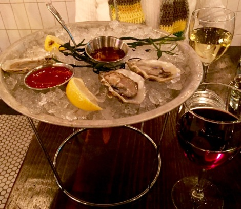 Oysters at Bonney Read. I ate 3 of my oysters before Eileen took the photo.They go down fast.  This presentation reminded us of Balthazar's French bistro in Lower Manhattan.