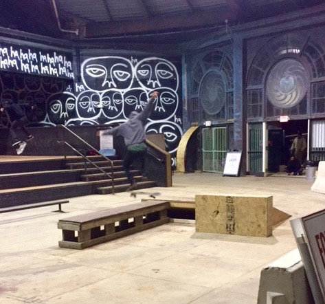 Skateboard venue in the Carousel Building. A. Park. 11/1216 By Stephen Goldfinger, Blogfinger staff. ©