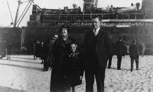 "From Carol Livingstone. ""Thought you might enjoy this photo of my mom and grandparents in front of the Morrow Castle. It was taken in 1934. "" Special to Blogfinger ©"
