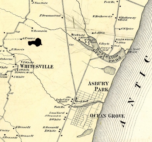 1873. Partial map of Monmouth County. Note the stream heading into Ocean Grove to Long Pond. It contained crystal clear fresh water. Submitted by Paul Goldfinger from the original. © 10/31/16