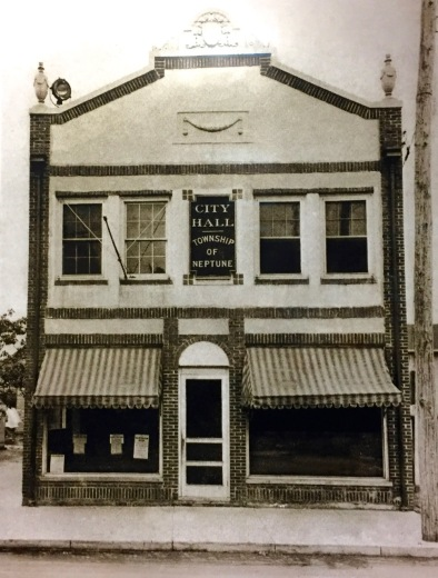 The old Neptune Township Municipal Building. Undated. Photo hangs on the wall of the Township Committee. Blogfinger photo.