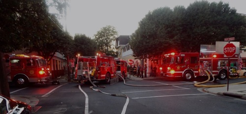 Small apartment fire. Olin AVe. at Pilgrim Pathway in Ocean Grove. Paul Goldfinger photo ©