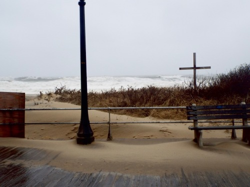Sand blows onto the boardwalk, Photo by Jean Bredin, Blogfinger staff. © January 23, 2016