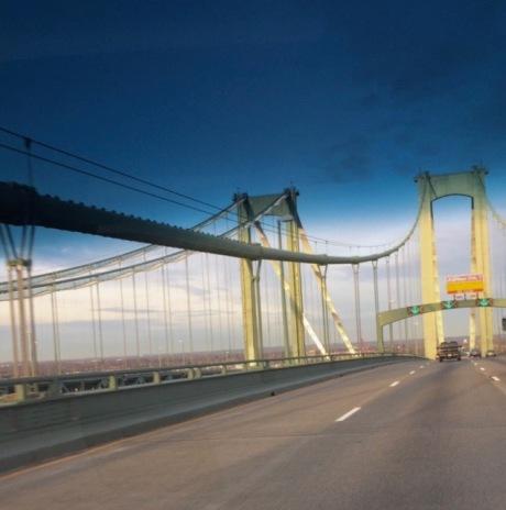 Delaware Memorial Bridge.   By Eileen Goldfinger . Jan. 2017. Heading south on route 95. ©