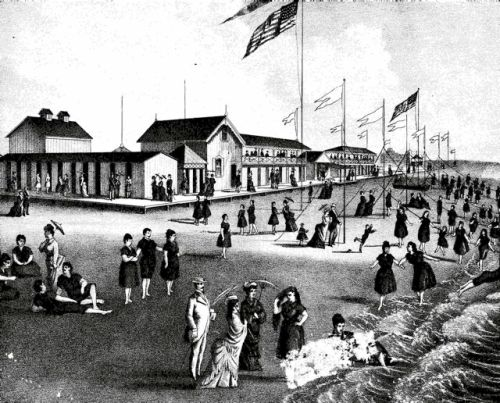 The Ross Bathing Houses, 1878. North End, Ocean Grove Beach. From the Atlas of the Jersey Coast. Previously posted on Blogfinger.