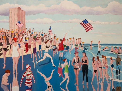 """Polar Bear Plunge"" by Jack Bredin. Asbury Park, NJ. Jan. 1, 2017 © Photograph of painting by Robert Bredin"