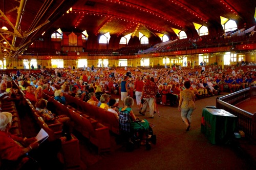 The Great Auditorium of Ocean Grove c. 2013. Saturday night crowd begins to assemble. By Paul Goldfinger ©