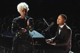 John Legend and Cynthia Erivo perform a spare Beach-boys tune. Internet photo. 2/12/17
