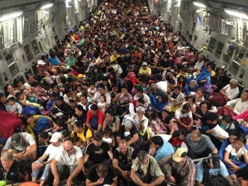 This is onboard one of the US Air Force's C-17 on one of the evacuation trips 