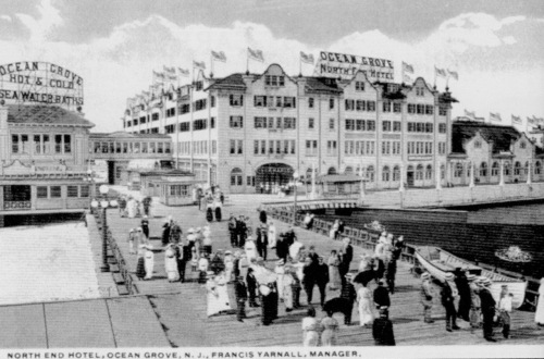The NERP is nostalgic for the old North End (1916 in this photo)/  There were large structures, concession stands down the middle, people congestion--and beyond is the Casino with its own chaos.     From Ocean Grove in Vintage Postcards by Bell and Flynn.