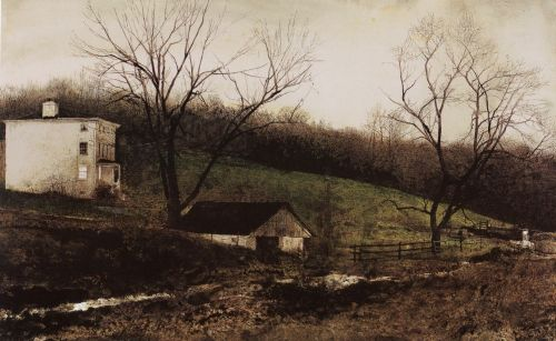 Evening at Kuerners.  By Andrew Wyeth, 1970. Brandywine River Museum. Done with dry brush watercolor on paper