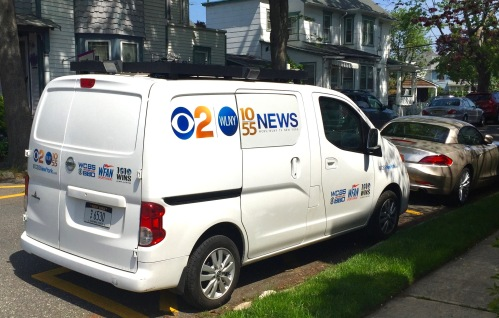 Meg Baker's CBS truck parked behind the Blogmobile on Delaware Avenue. Blogfinger spot-news photo. ©