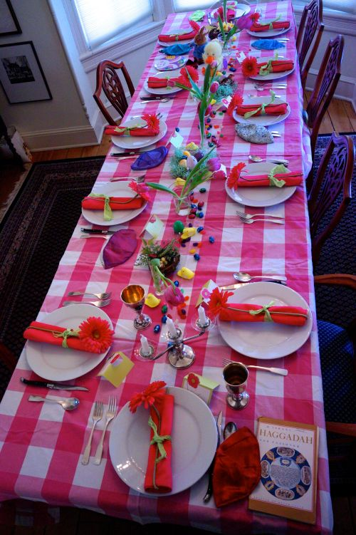 Tonight begins Passover 5774 (Jewish calendar)  Eileen's seder table. Ocean Grove, 2014.  Note the Pope's yarmulka which I will wear tonight.