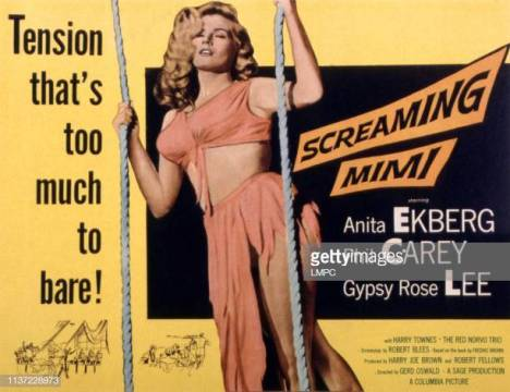 Screaming Mimi, poster, Anita Ekberg, 1958. (Photo by LMPC via Getty Images)