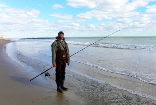 November 3, 2012. Ocean Grove, New Jersey. One of the first fishermen to return. By Paul Goldfinger. Copyright. Click left for full view